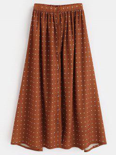 Polka Dot Button Up Maxi Skirt - Tiger Orange L