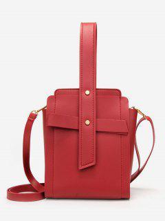 Vintage Solid Color Minimalist Handbag - Red