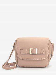 Minimalist PU Leather Buckle Crossbody Bag - Light Khaki