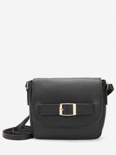 Minimalist PU Leather Buckle Crossbody Bag - Black