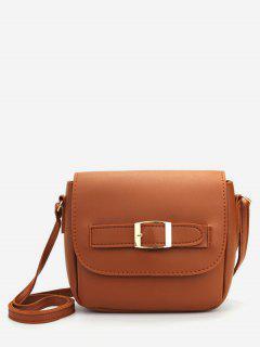 Minimalist PU Leather Buckle Crossbody Bag - Brown