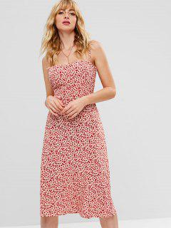 Robe Mi-Longue Florale à Bretelle - Multi L