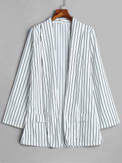 False Pockets Design Striped Blazer - Multi L