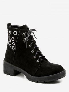 Grommet Chunky Heel Short Boots - Black Eu 40