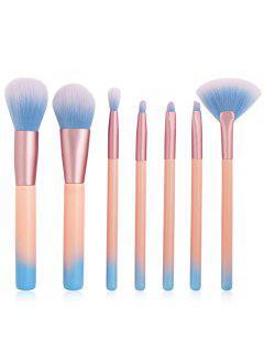 Professional 7Pcs Extra Soft Fiber Hair Blush Eyeshadow Fan Brush Suit - Light Pink