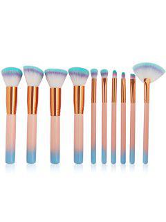 Cosmetic Gradual Color Handles Travel Makeup Brush Suit - Light Pink