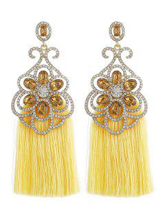 Bohemian Rhinestone Tassel Drop Earrings - Yellow