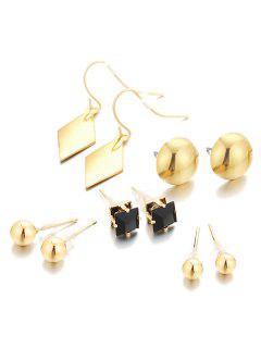 Unique Geometric Alloy Earrings Suit - Gold