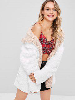 Hooded Open Front Lamb Wool Coat - White L