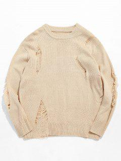 Casual Solid Ripped Knit Sweater - Apricot L
