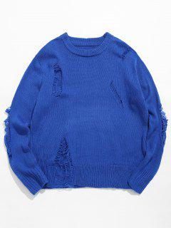 Casual Solid Ripped Knit Sweater - Blue 2xl