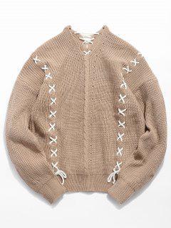 Suéter De Punto Strip Criss Cross - Caqui Claro 2xl