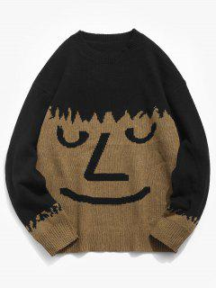 Face Pullover Knit Sweater - Camel Brown M