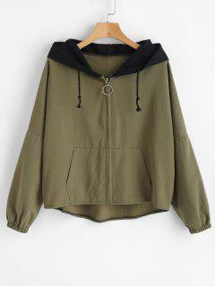 High Low Graphic Hooded Jacket - Army Green