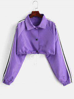 Single Breasted Drawstring Short Windproof Jacket - Aztech Purple L