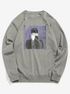 Character Graphic Casual Sweatshirt - Blue Gray Xs