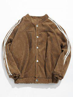 Side Striped Corduroy Jacket - Light Khaki M