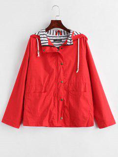 Stripes Panel Snap Button Hooded Jacket - Lava Red M
