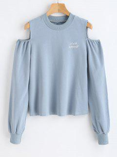 Pullover Sweatshirt With Letters Embroidered - Blue Gray L
