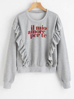 Drop Shoulder Letters Sweatshirt With Flounce - Gray S