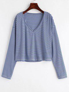 V Neck Striped Tee - Deep Blue M