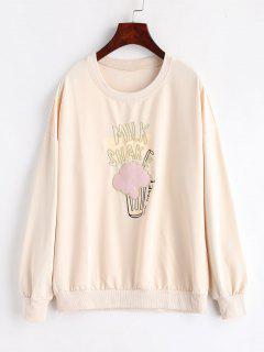 Embroidered Drop Shoulder Tunic Sweatshirt - Apricot L