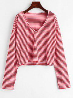 Camiseta Con Cuello En V A Rayas - Rojo Lava L
