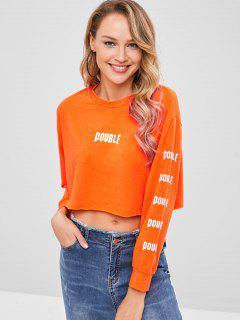 Crop Drop Shoulder Letter Sweatshirt - Orange Xl