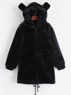 Faux Fur Hooded Tunic Coat - Black