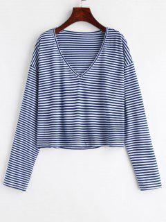 V Neck Striped Tee - Deep Blue L