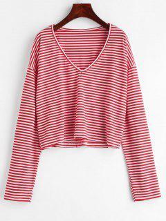 V Neck Striped Tee - Lava Red M