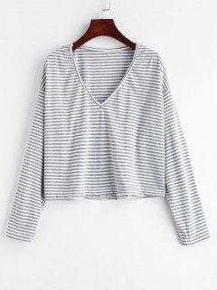 Camiseta Con Cuello En V A Rayas - Nube Gris M
