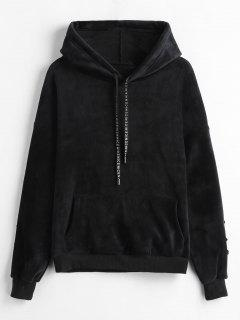 Floral Embroidered Fleece Velvet Hoodie - Black L