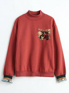 Floral Letter Embroidered Fleece Sweatshirt - Chestnut M