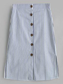 Button Front Stripe Midi Pencil Skirt - Multi-a Xl