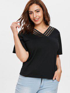 Plus Size Plain V Neck Tee - Black 4x