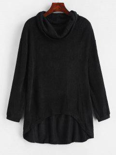 Cowl Neck High Low Knitted Top - Black L