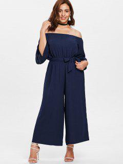 Off Shoulder Wide Leg Plus Size Jumpsuit - Midnight Blue 3x