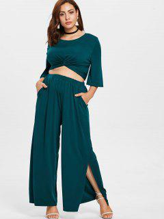 Plus Size Twist Top And Wide Leg Pants - Medium Sea Green 1x