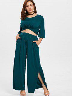 Plus Size Twist Top And Wide Leg Pants - Medium Sea Green 3x