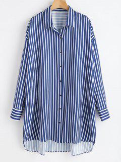 High Low Striped Longline Shirt - Multi L