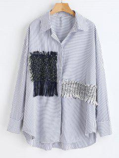High Low Striped Shirt With Fringe - Multi L