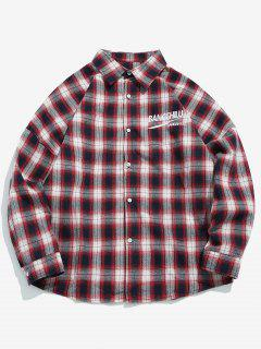 Casual Embroidered Letter Plaid Shirt - Red M