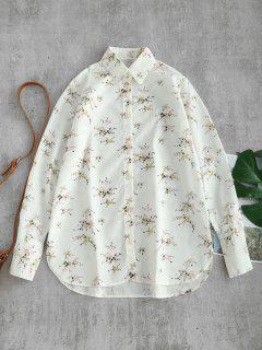 Buttoned Deep Cuffs Floral Shirt - White M