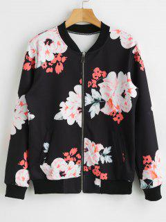 Zip Up Flower Jacket - Black L