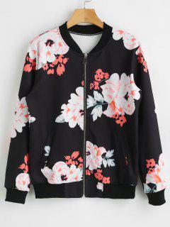 Zip Up Flower Jacket - Black Xl