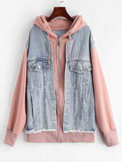 Denim Panels Hooded Jacket - Multi
