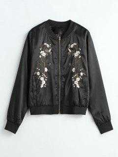 Floral Embroidered Bomber Jacket - Black