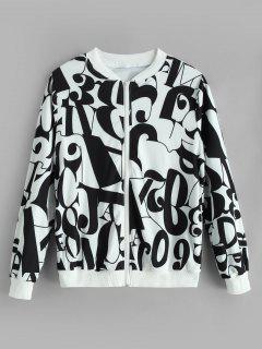 Zip Up Figure Graphic Jacket - Multi-a L