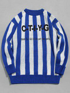Applique Letters Striped Knitted Sweater - Blue 2xl
